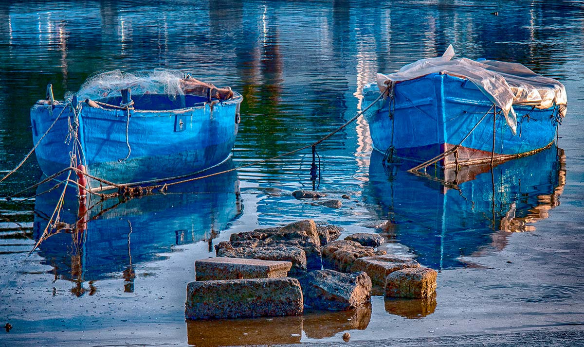boats in blue dominant